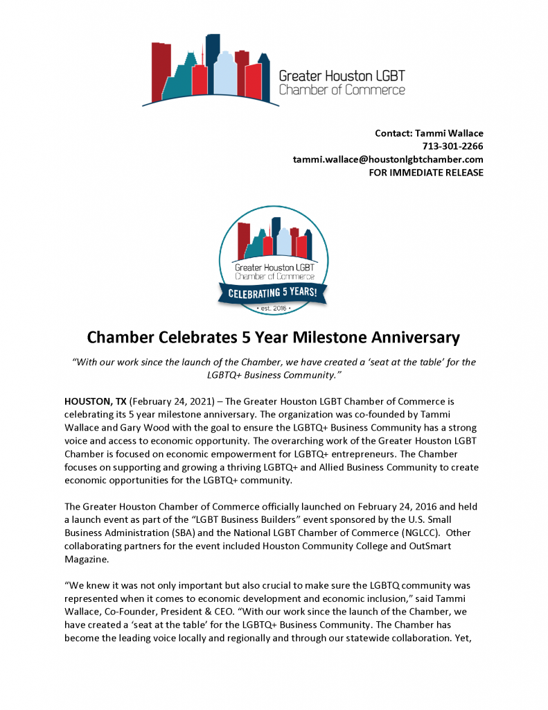 Greater Houston LGBT Chamber 5 Year Anniversary - Media Release Final_Page_1