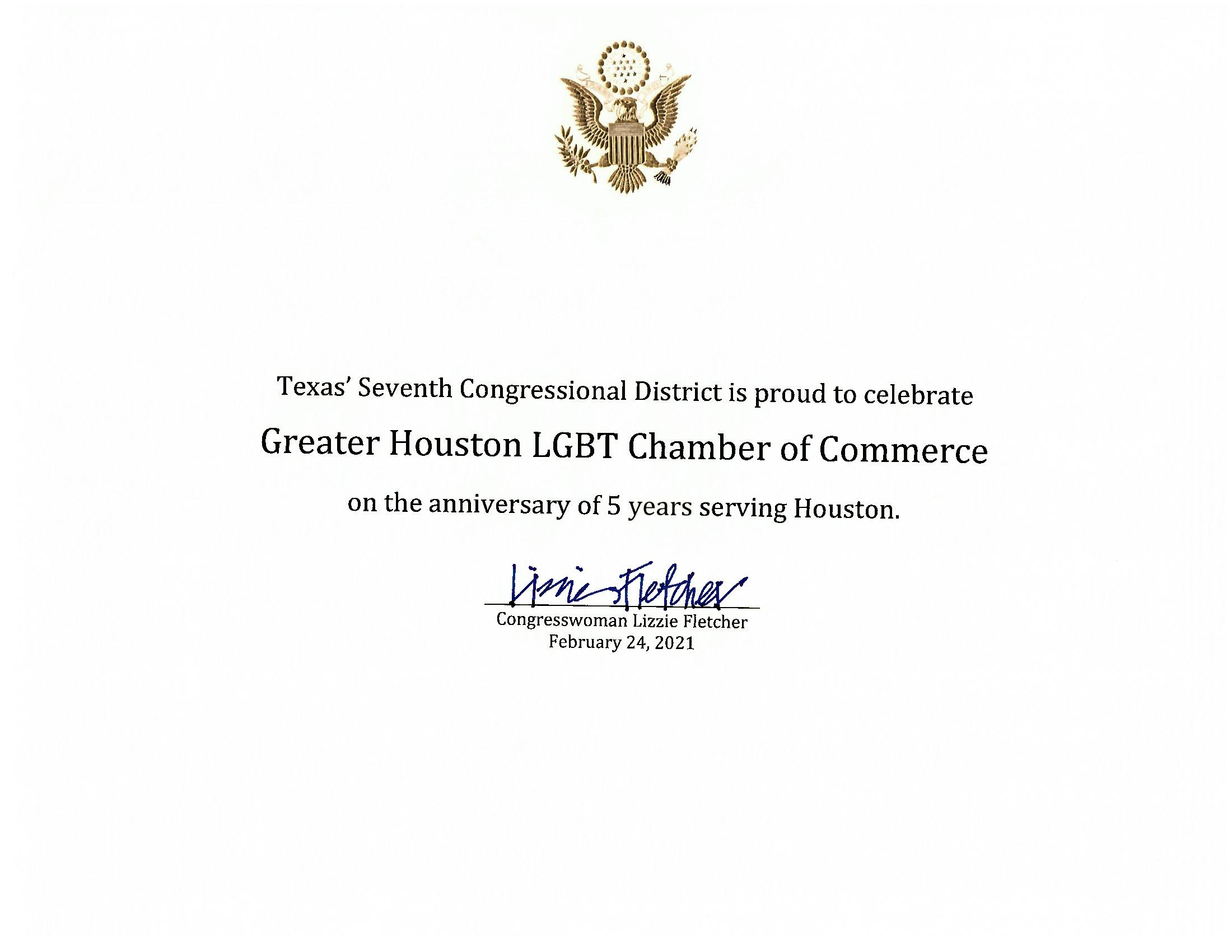 Anniversary Acknowledgement from CM Lizzie Fletcher