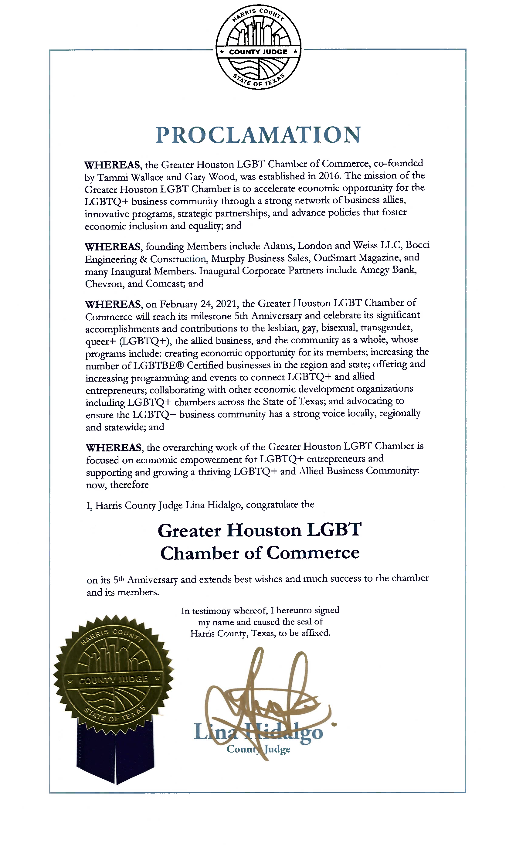 Harris County 5 Year Anniversary Proclamation