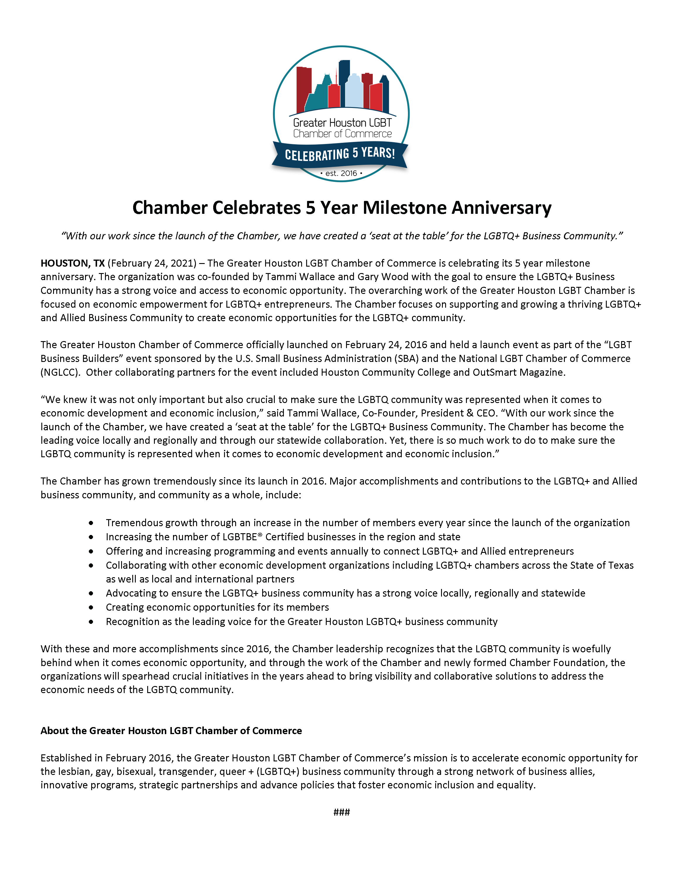 Greater Houston LGBT Chamber 5 Year Anniversary - Media Release ONE PAGE