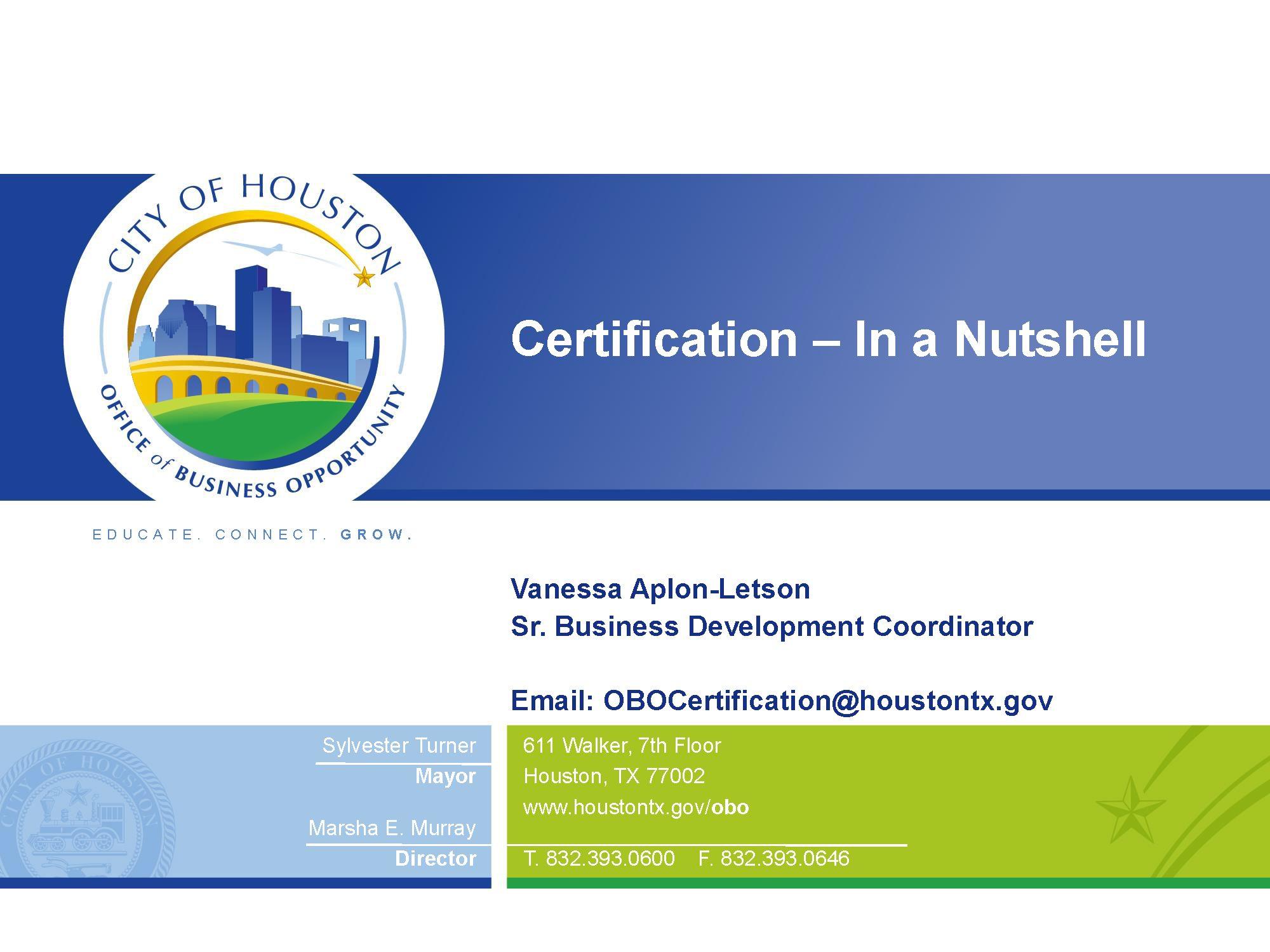 OBO Certification-Workshop-Presentation
