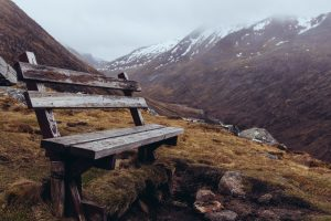 Bench on a hillside; striving to abide