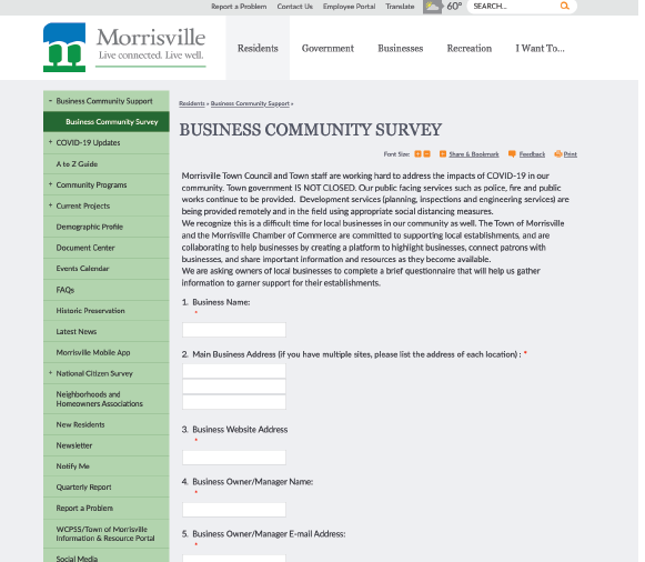 Morrisville Business Survey