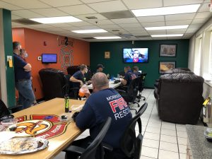 First Responders at fire Station 2 enjoying lunch & thank you videos