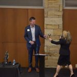 HBA CEO Chérie Talbert presents Mark Bailey with his 2020 Presidential Gavel