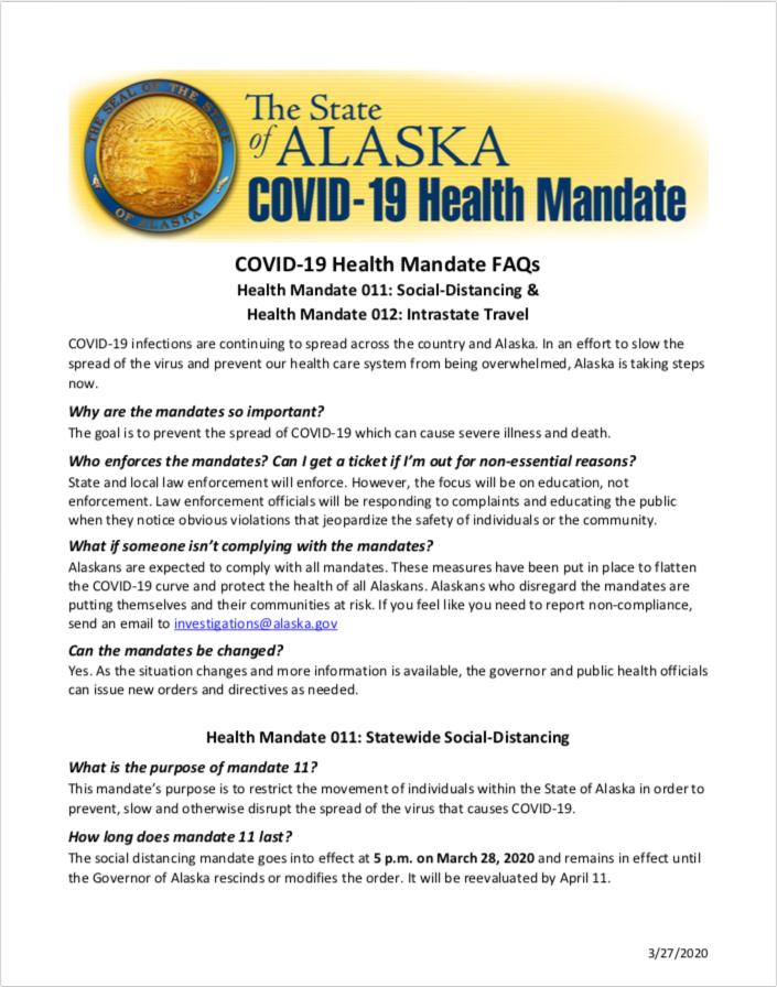 Health Mandate 011: Social-Distancing & Health Mandate 012: Intrastate Travel