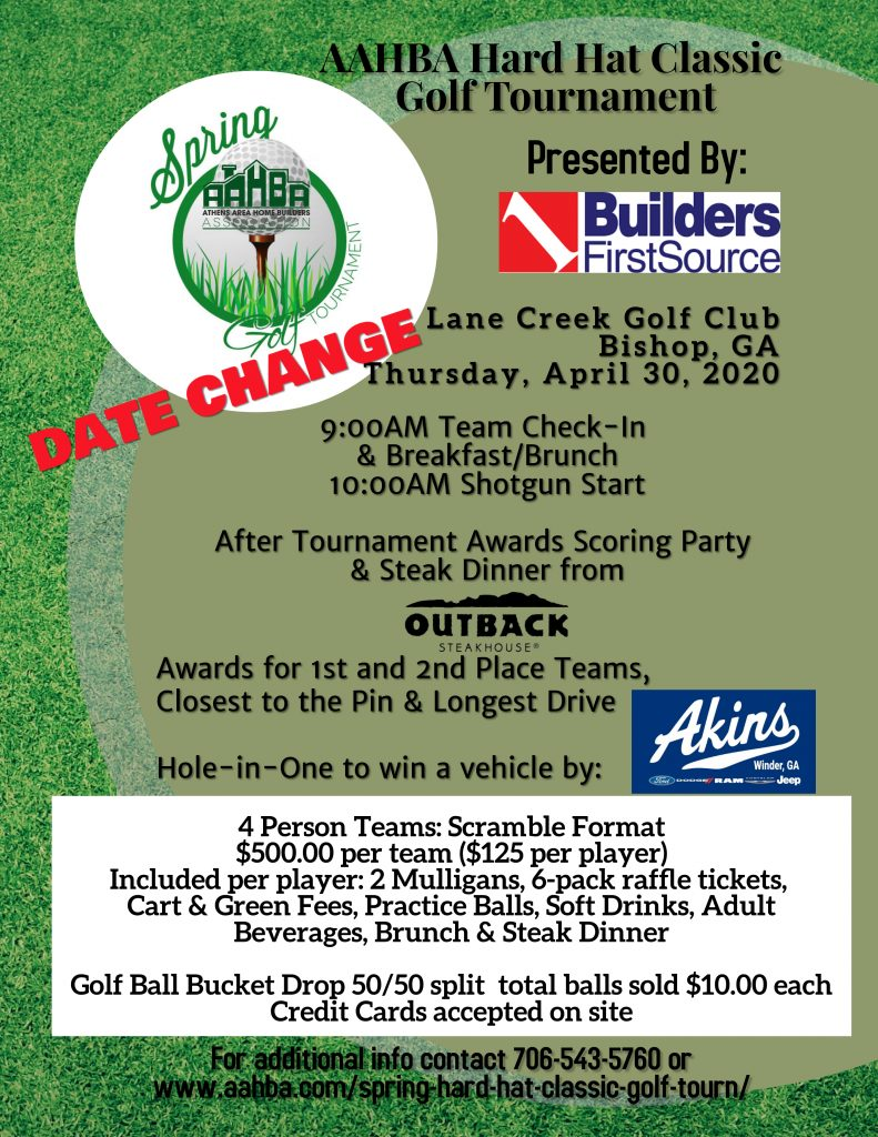 Date Change - AAHBA Spring Hard Hat Classic Golf Tournament 2019 Flyer (3)
