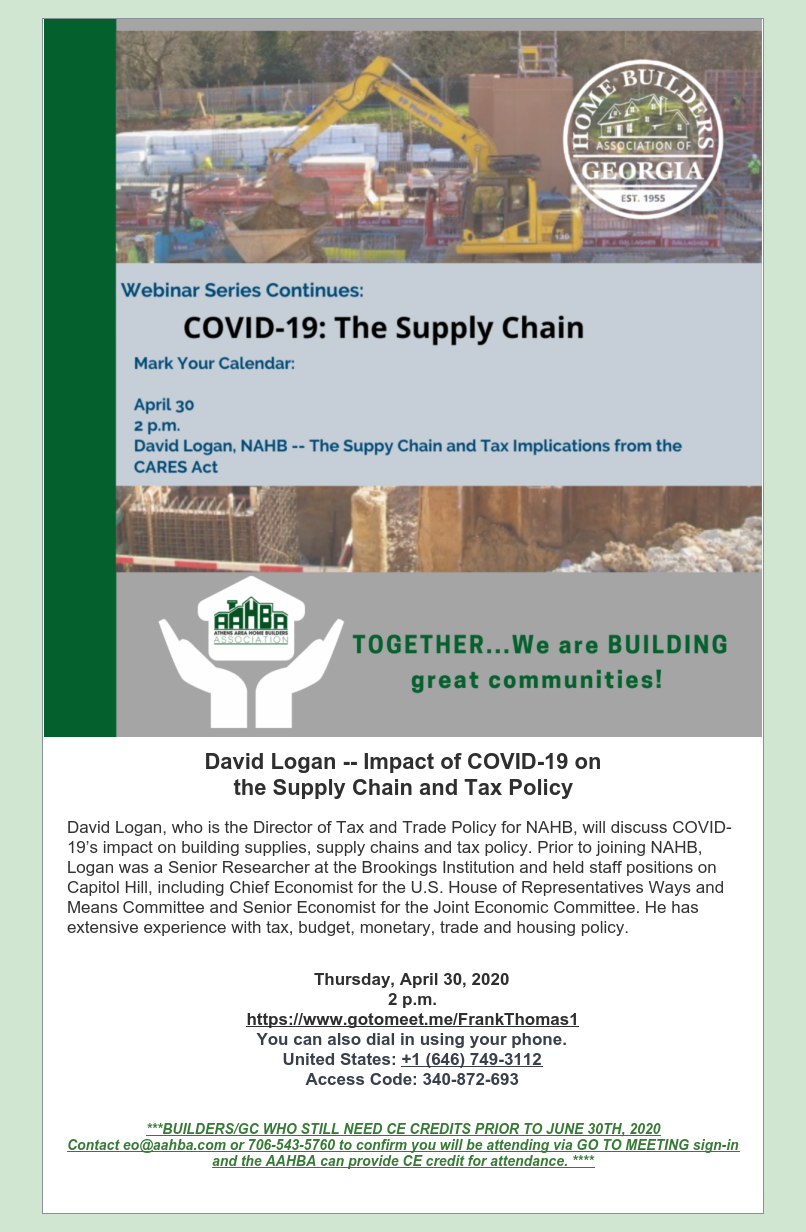 Impact of COVID-19 on the Supply Chain Tax Policy Webinar