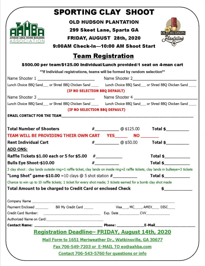 2020 Sporting Clay Shoot Team Registration Form