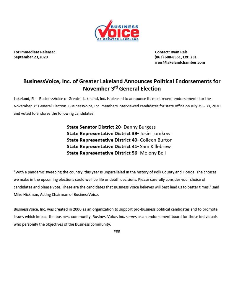 Endorsements for Nov. 3 General Election