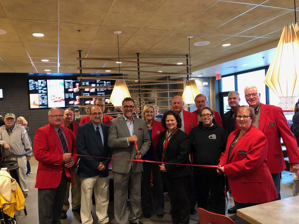 Chamber Ambassadors, owner Kevin O'Brien, and staff celebrated the grand opening of McDonald's (1227 S Marshall Street) with a ribbon cutting held on October 10.