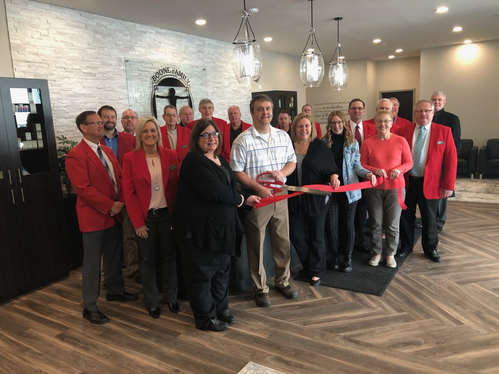 Chamber Ambassadors on January 28 celebrated a ribbon cutting at the new location for Boone Family Chiropractic (1305 Five Mile Drive) with owner, Zach Weisbrod and staff.