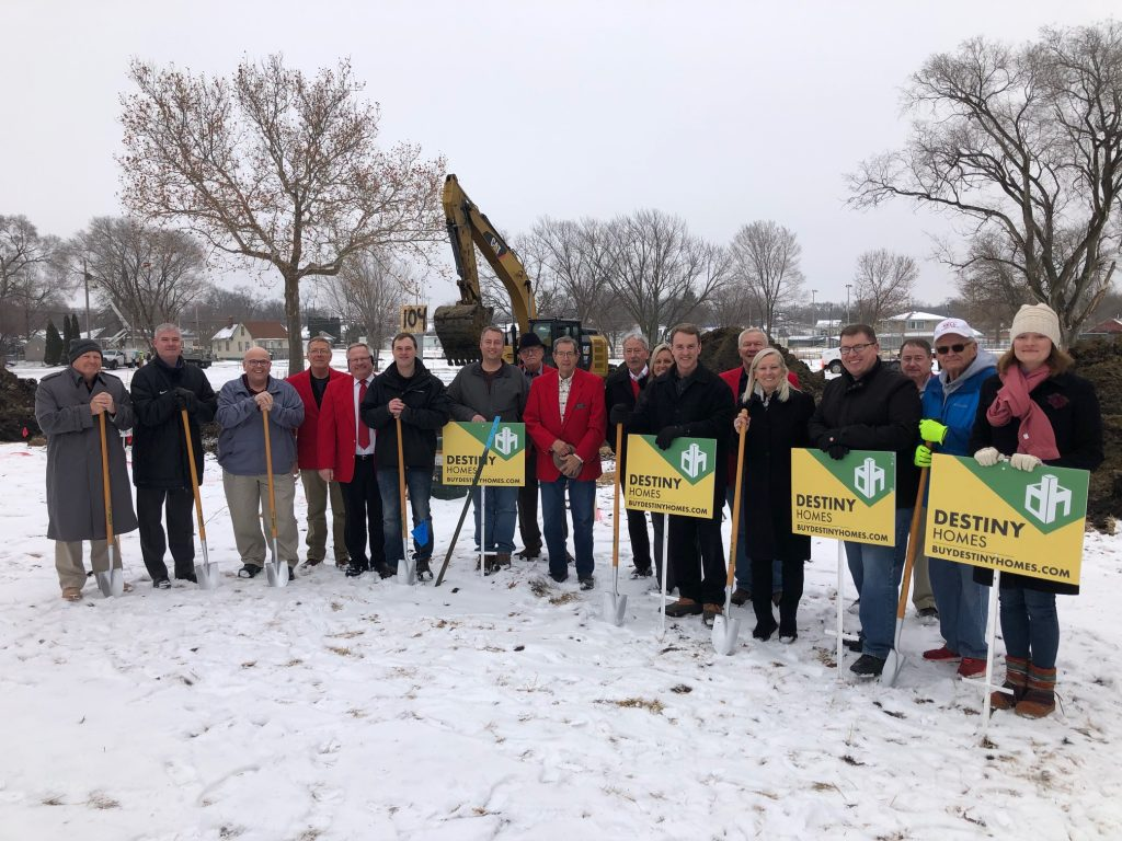 On January 13, City Officials and Chamber Ambassadors attended the groundbreaking ceremony to kickoff construction of Destiny Homes new housing addition in the 300 block of West 2nd Street.
