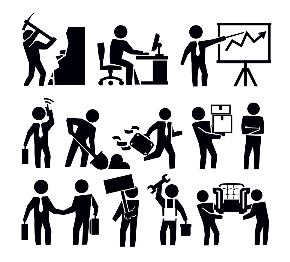 vector black business and worker icon set