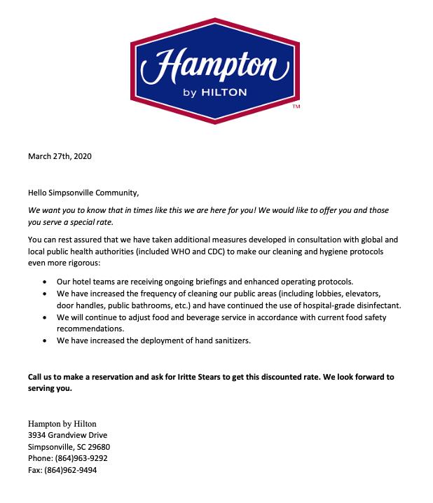 Hampton Inn CommunitySupportLetter