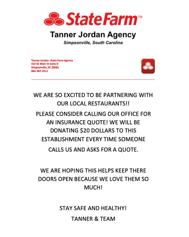 Tanner Jordon State Farm with Logo