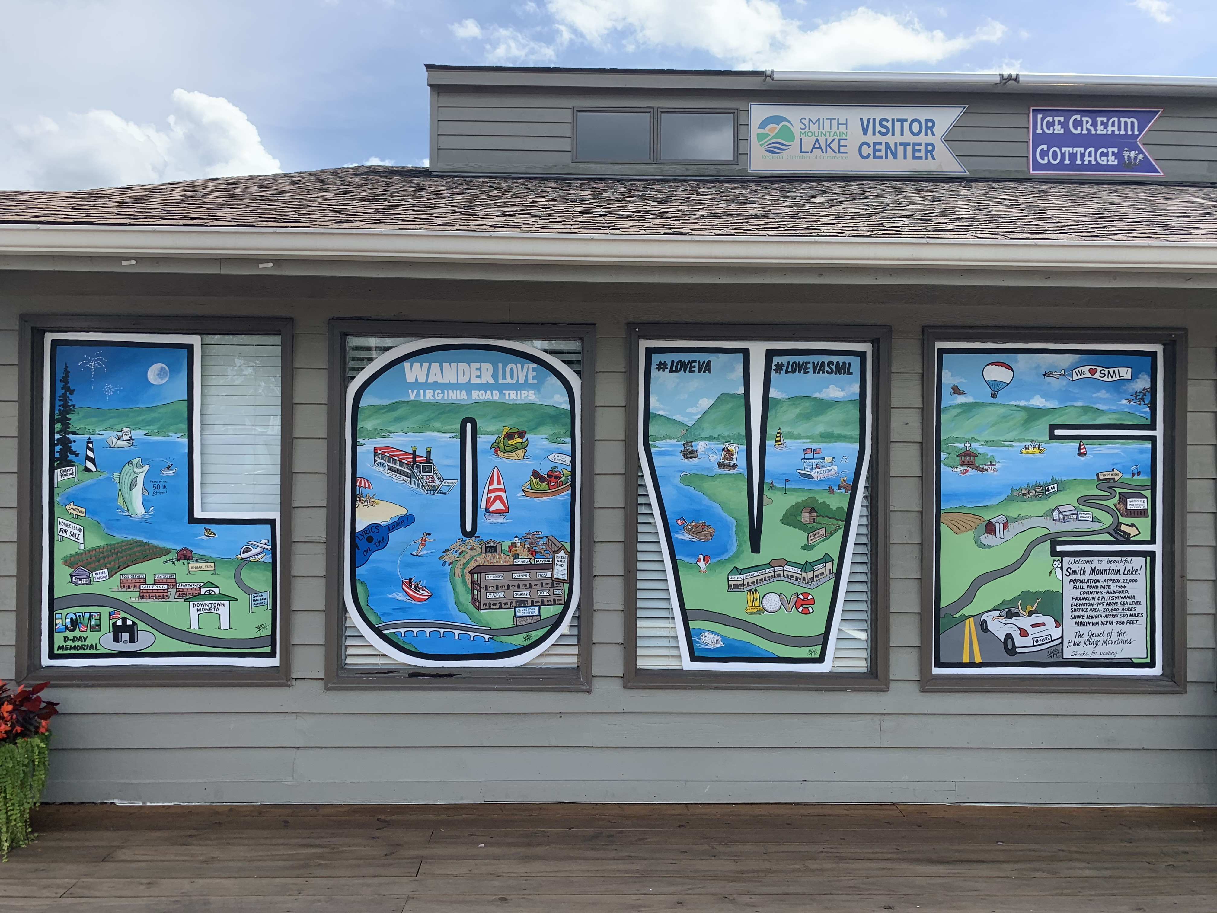 The LOVEworks sign at the SML Visitor Center at Bridgewater Plaza