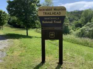 Trailhead at Jackrabbit Mountain in Hayesville, NC