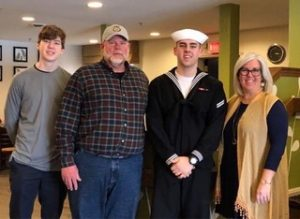 US Sailor Jake Hinke with his family