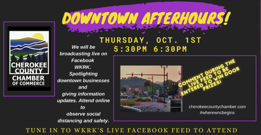 Cherokee County Chamber NC Virtual After Hours Event Oct. 1, 2020