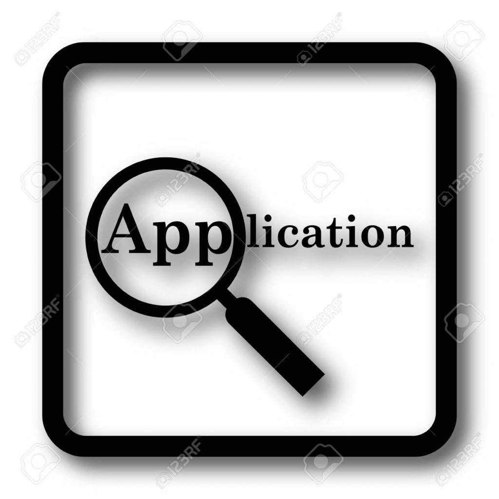 Application icon, black website button on white background.