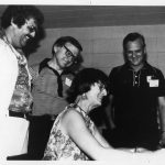 Sam Beatty (Executive Director), Ralph O'Dette, Margaret (Peg) Fischer, Doug Price, signing Wiley Contract