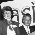 Susan Bonzi, receiving award The award is 1982 ISI Information Science Dissertation Scholarship. Manfred Kochen is on right