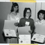 Deborah (ralf) Shaw, Linda C. Smith, Dudee Chang receiving Student Chapter of the Year Award (Illinois)