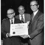 Jesse Shera receiving 1973 Award of Merit, with John Sherrod, Ken Broome