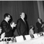 Senator Hubert Humphrey, Charles Bourne at podiumbeing honored at banquet