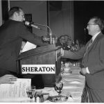 Wilf Lancaster receiving Best Information Science Book Award from Charles P. Bourne (president)