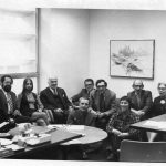 ASIS Commission on Long-range planning: Charles Meadow, Joshua White, Beth Krevitt-Eres, and others; Pauline Atherton Cochrane sitting on floor