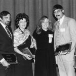 Art Elias, Irene Farkas-Conn, Mary Berger, Roy Tally, Si Newman Elias, Farkas-Conn, Tally, and. Newman received the 1977 Watson Davis Award from Mary Berger