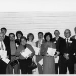 Award winners (l to r): Anthony Debons, , Edward Sawyer, [two unidentified women, Trudi Bellardo, [4 unidentified people], Belver Griffith