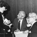 Irene Farkas-Conn with Marvin Kalb (l), Bernard Kalb