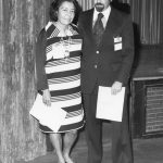 Rowena Swanson, Arthur Elias. Swanson is receiving the Best JASIS Paper Award, 1975