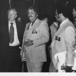 Senator Hubert Humphrey, Sam Beatty, Joshua Smith. ASIS Bicenntential 1976