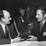 John Sherrod giving gavel to Robert J. Kyle. Sherrod was 1973 ASIS president; Kyle was 1972 president