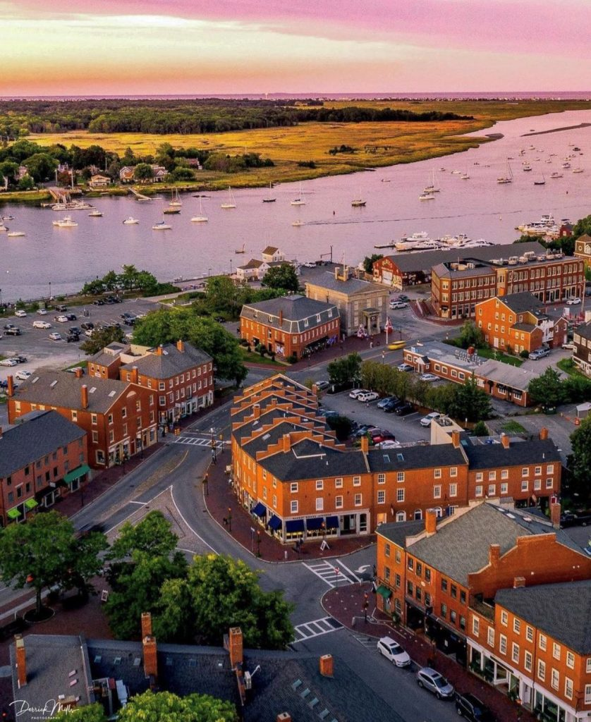 Sunset over Downtown Newburyport from above.