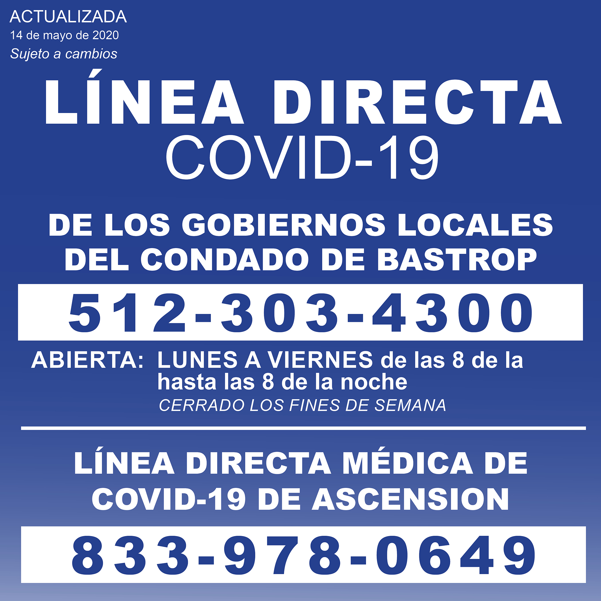 COVID-19 graphic - HOTLINES 1200x1200 051420 SPANISH