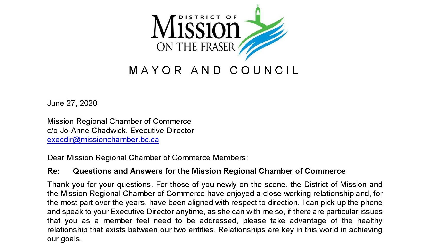 District of Mission Responses to Business Walk Survey 2020