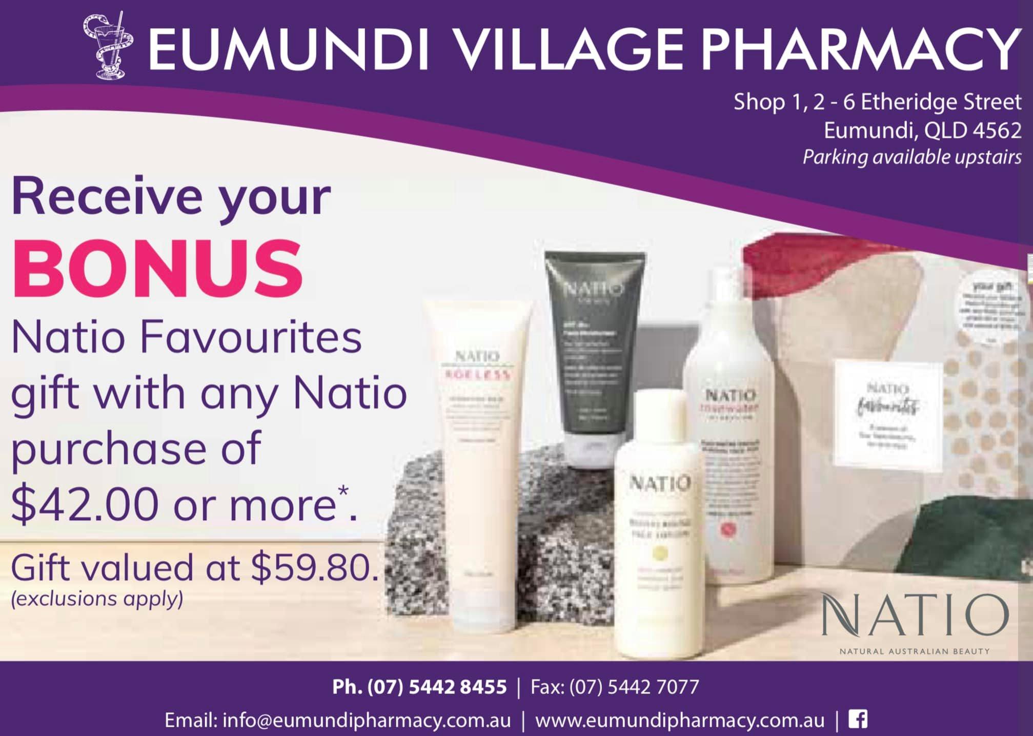 Natio BONUS available at Eumundi Village Pharmacy