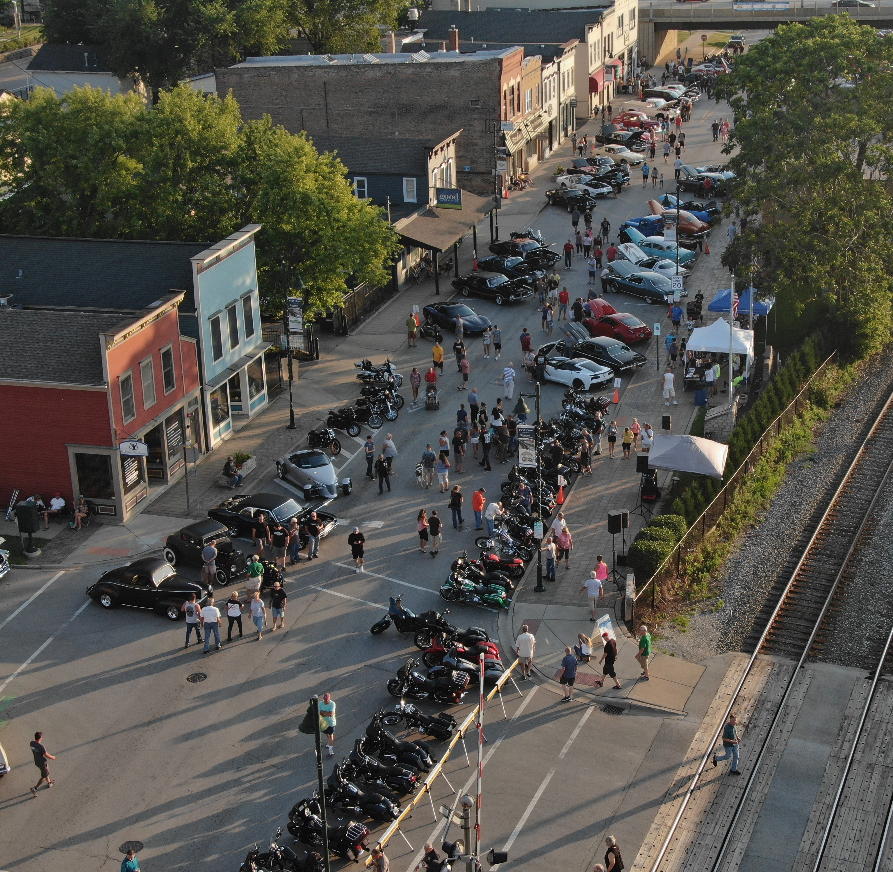 Drone shot from 2019 Lemont Legends Cruise Night