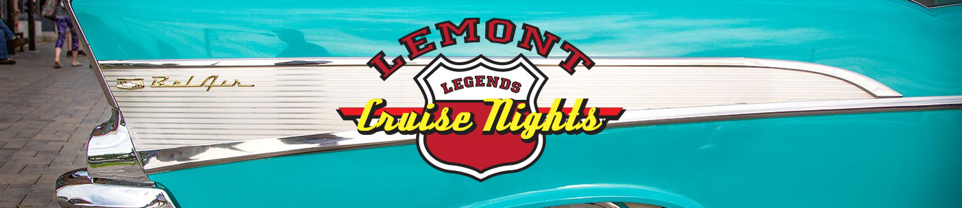 Closeup of a car fin with Lemont Legends Cruise Nights logo on top