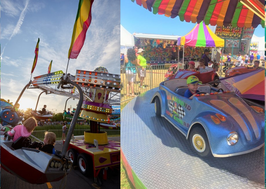 Split photo of two different carnival rides