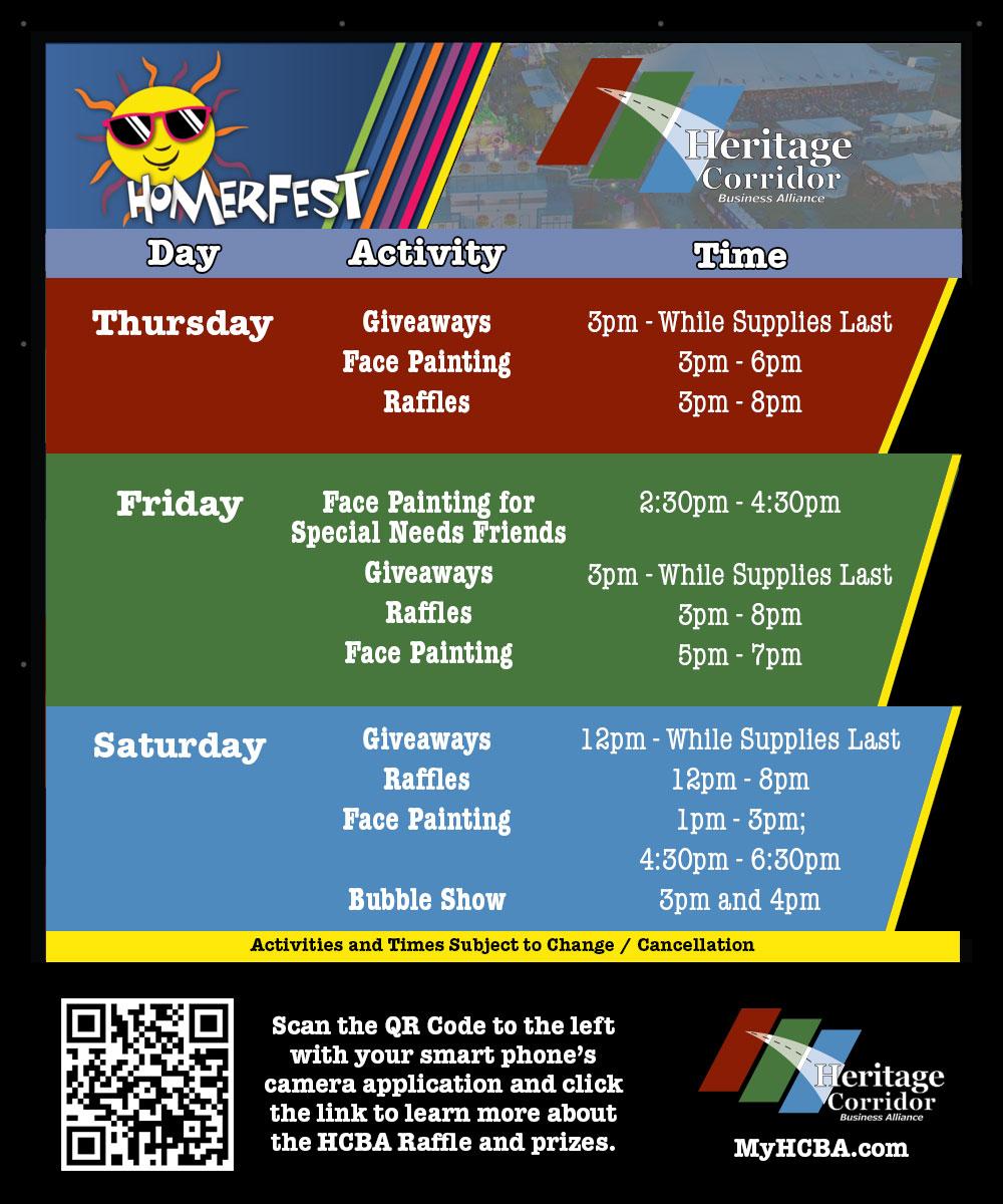 Schedule for 2021 Homerfest