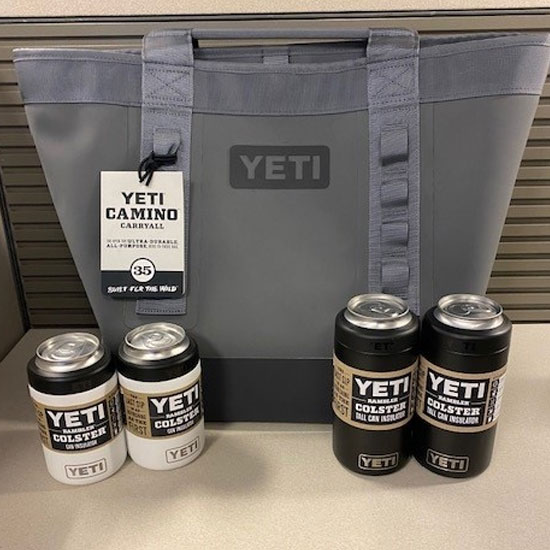 Yeti softside cooler and four can insulators