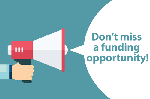 Bullhorn with bubble stating Don't Miss a Funding Opportunity