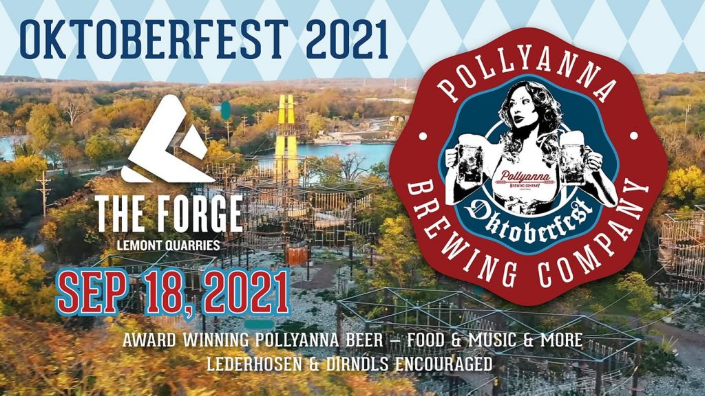 Graphic featuring Oktoberfest 2021 information about the event on September 18 at The Forge, hosted by Pollyanna Brewing Company