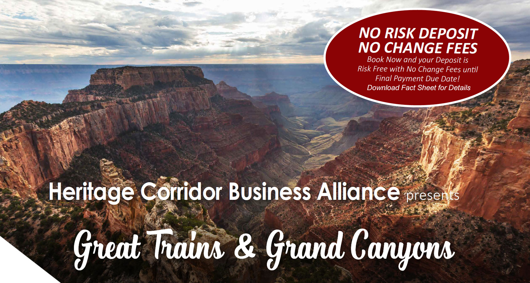 Picture of Grand Canyon. Title Great Trains and Grand Canyons